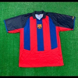 Vintage FC Barcelona FCB Soccer Sewn Patch Jersey